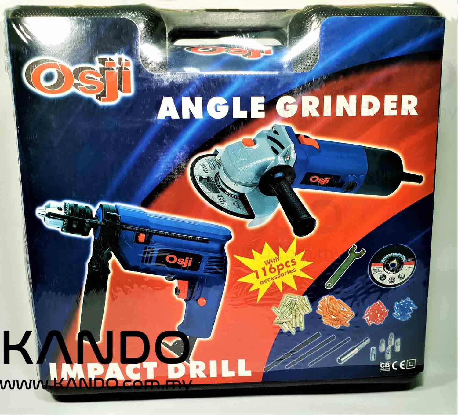 Osji Impact Drill and Angle Grinder 500W with 116 PCS Accessories and Blow Case Set Electric Drill