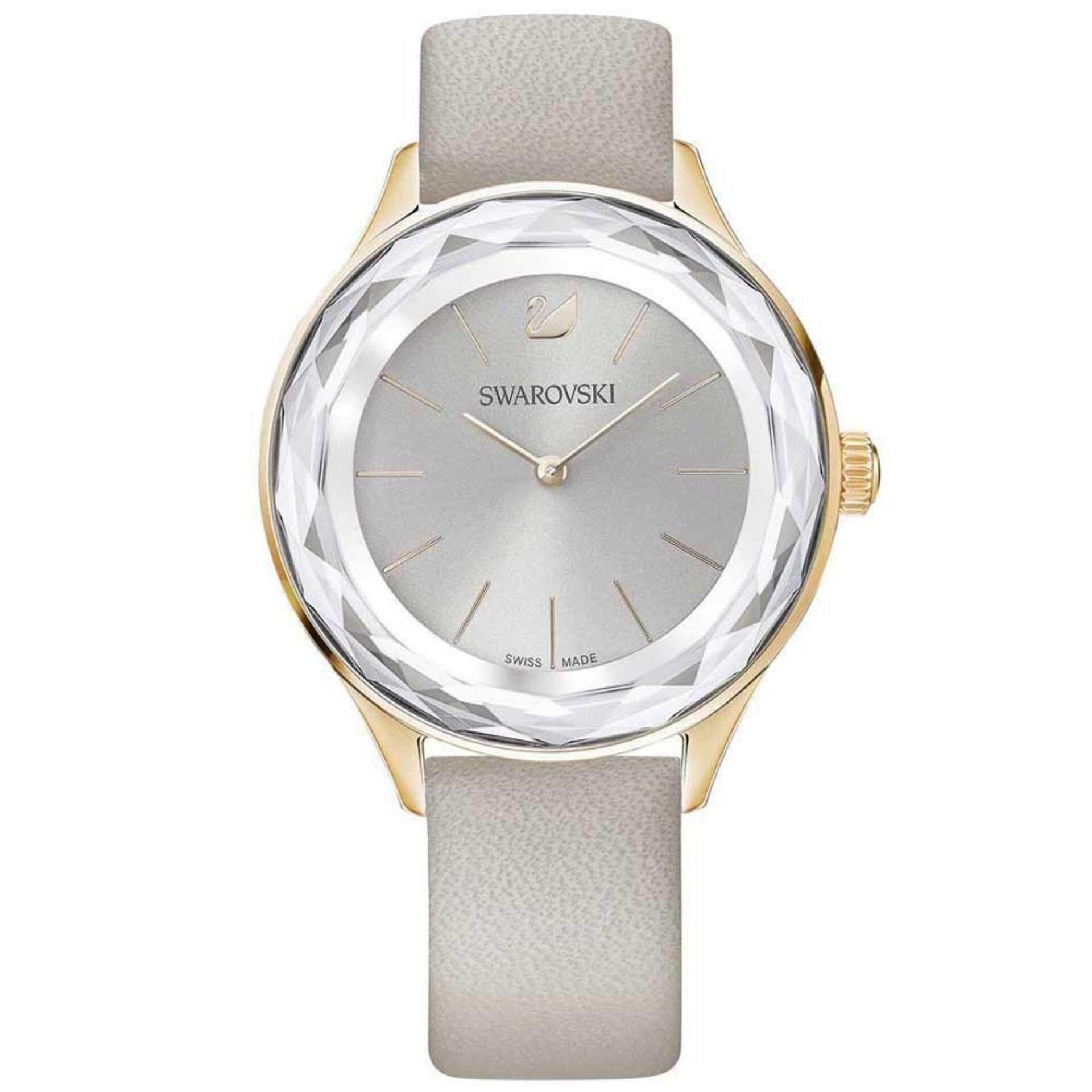 576d38d44 Swarovski Women's Octea Nova Rose Gold Tone Grey Leather Watch 5295326