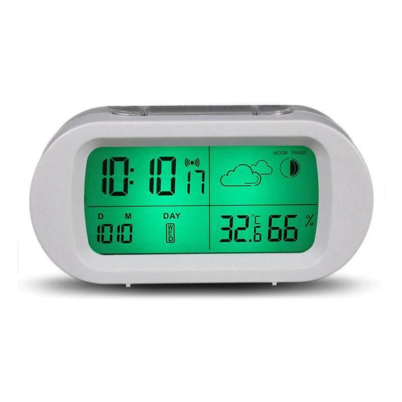 Loskii HC-102 Waktu Digital Termometer Tanggal Tampilan Cuaca Mode Tidur Sebentar Alarm Jam Dinding dengan Layar LCD-Internasional