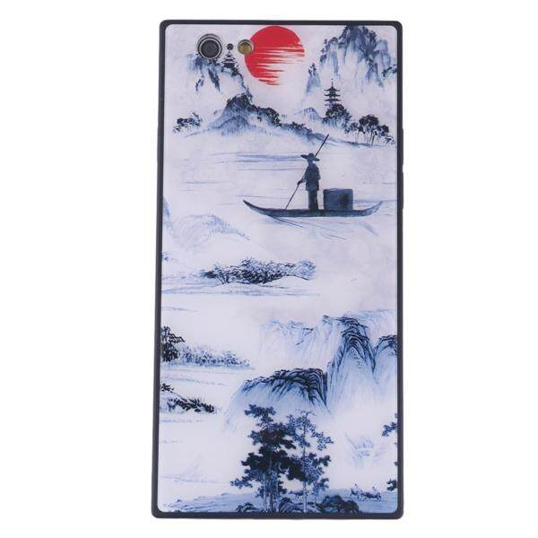 China Style Square Glass Phone Case Blue and White Porcelain Phone Shell for iPhone 6S Plus (Fisherman's Song)
