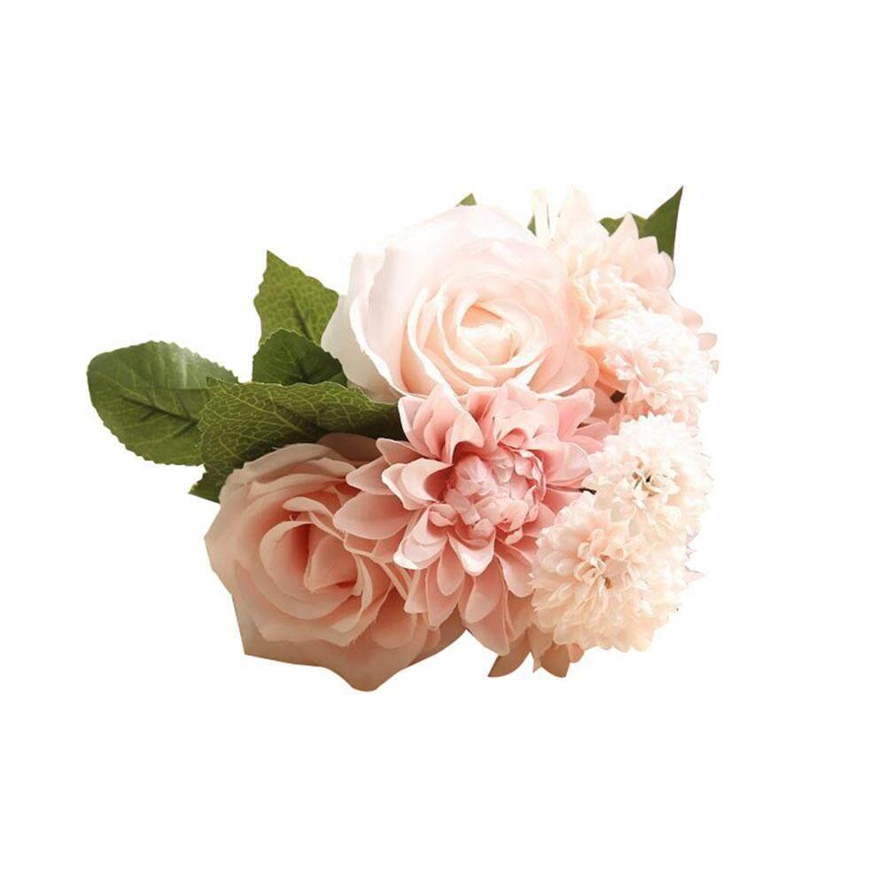 Roortour Buatan Dihasilkan Bunga, Pawaca Mawar Buatan, Dahlia, melaleuca Hampir Alam Aksesoris untuk Pernikahan Dekorasi Rumah (8 Pcs)-Internasional
