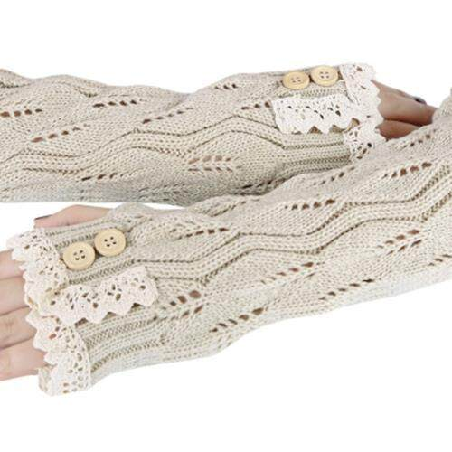 STYLISH LACE DECORATION BUTTON HOLLOW OUT DESIGN GIRLS LONG GLOVES (OFF-WHITE)