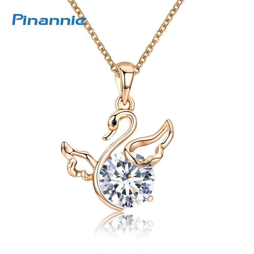 Pinannie Asli Gold Berlapis Swan Bandul Kalung Perhiasan untuk Wanita