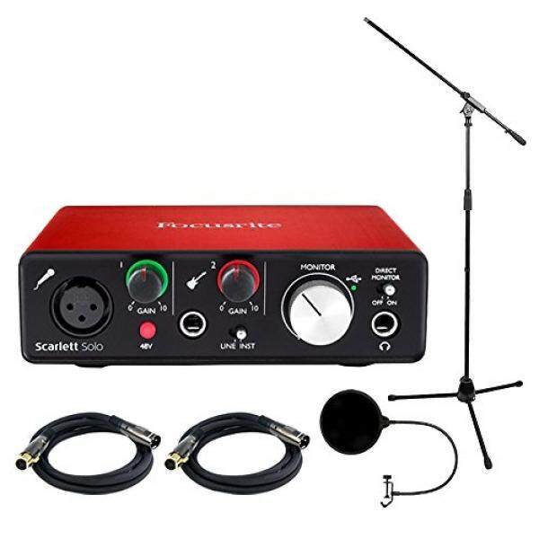 Focusrite Scarlett Solo USB Audio Antarmuka (2nd Generasi) Bundel dengan 2 Kabel XLR, Mikrofon, layar Angin-Internasional