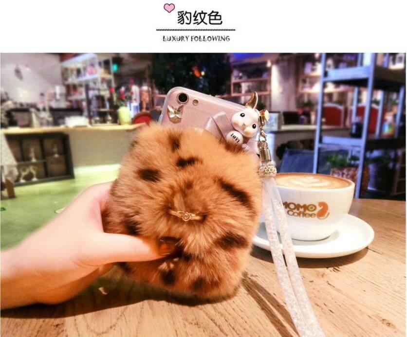 Fashion Cute Rabbit Cartoon Warm Fluffy Hair Plush Soft Case Cover For HTC U11 Eyes - intl