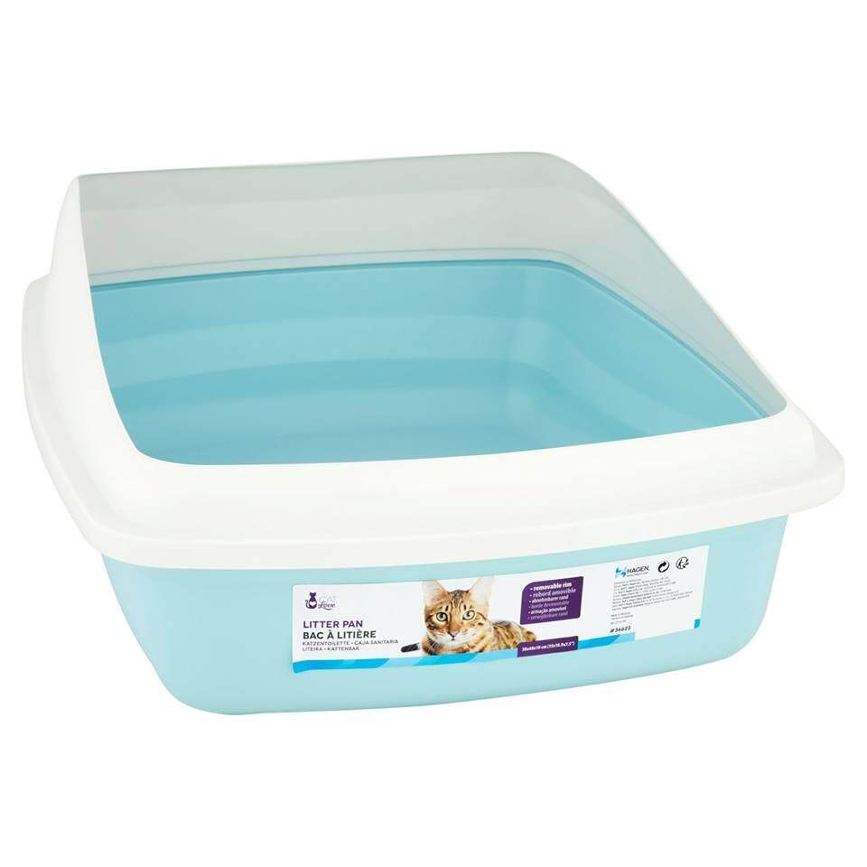 Catit Cat Pan with Removable Rim Blue & Cool Grey - Large Cat Litter Box - 36623