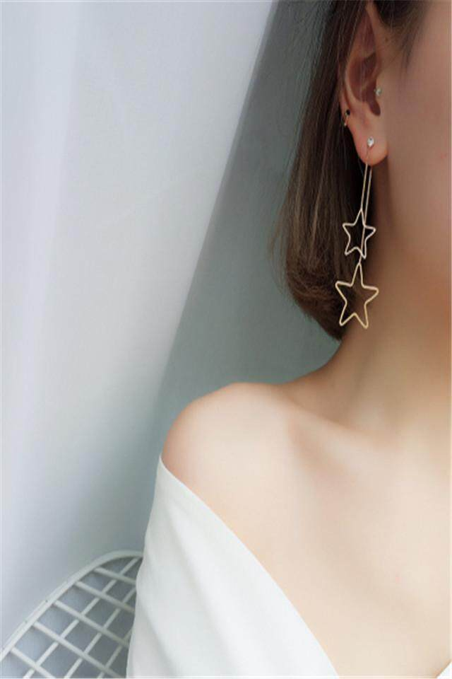 Korea Temperamen Sederhana Panjang Kepribadian Liar Bintang Garis Telinga Lima Menunjuk Bintang Rambut Pendek Anting-Anting Anting-Anting Anting-Anting Anting-Anting Wanita (Emas Ganda Harga Bintang) -Internasional