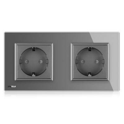 LIVOLO 16A Wall Power Outlet 2 Sockets with Glass Panel for EU Plug (GRAY)