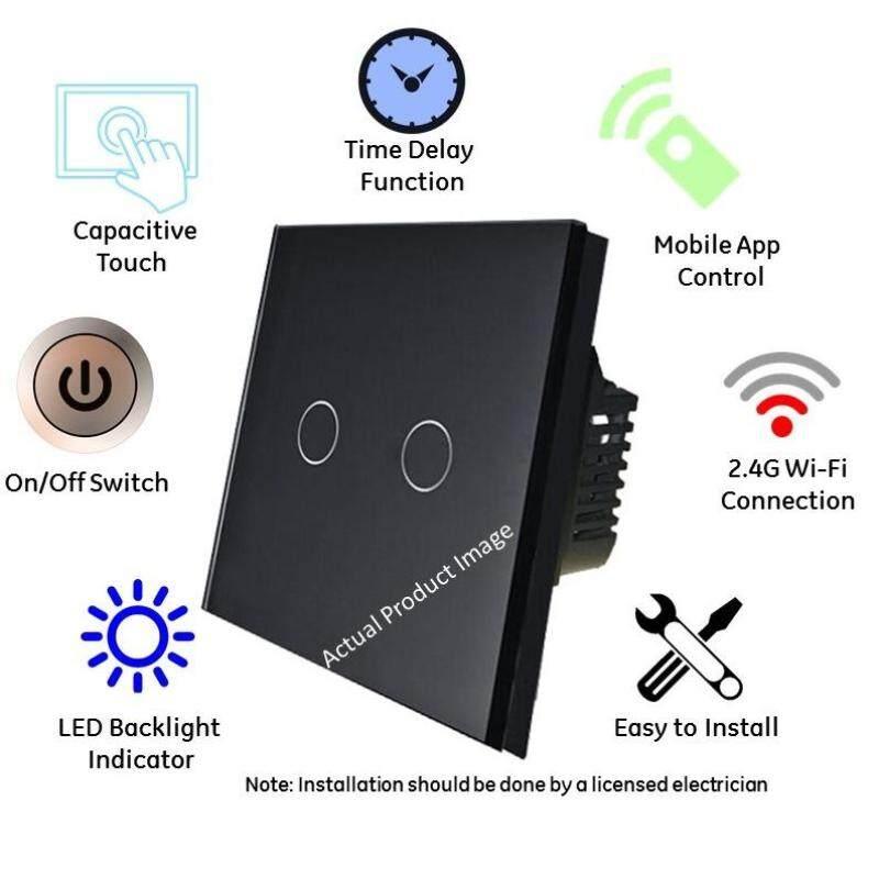 2 Gang (Black) Wifi switch UK Spec Supports Alexa Echo & Google Home