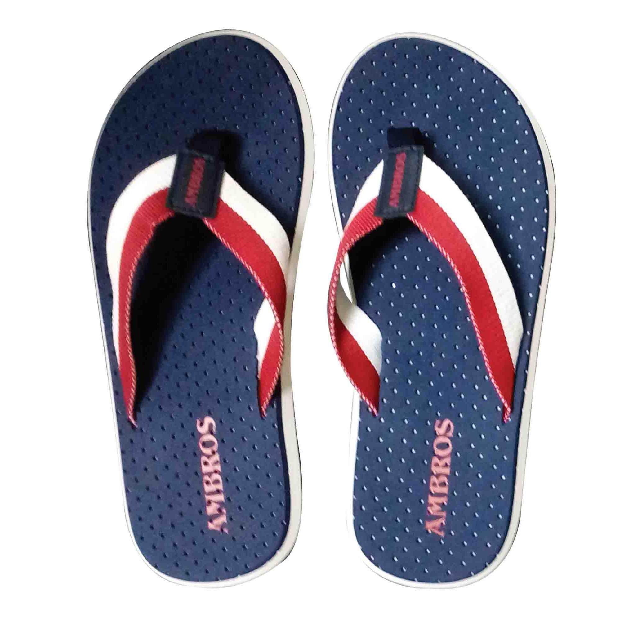 Ambros Ventilator Flip-Flop Sandals Slippers - Navy/red By Ambros.