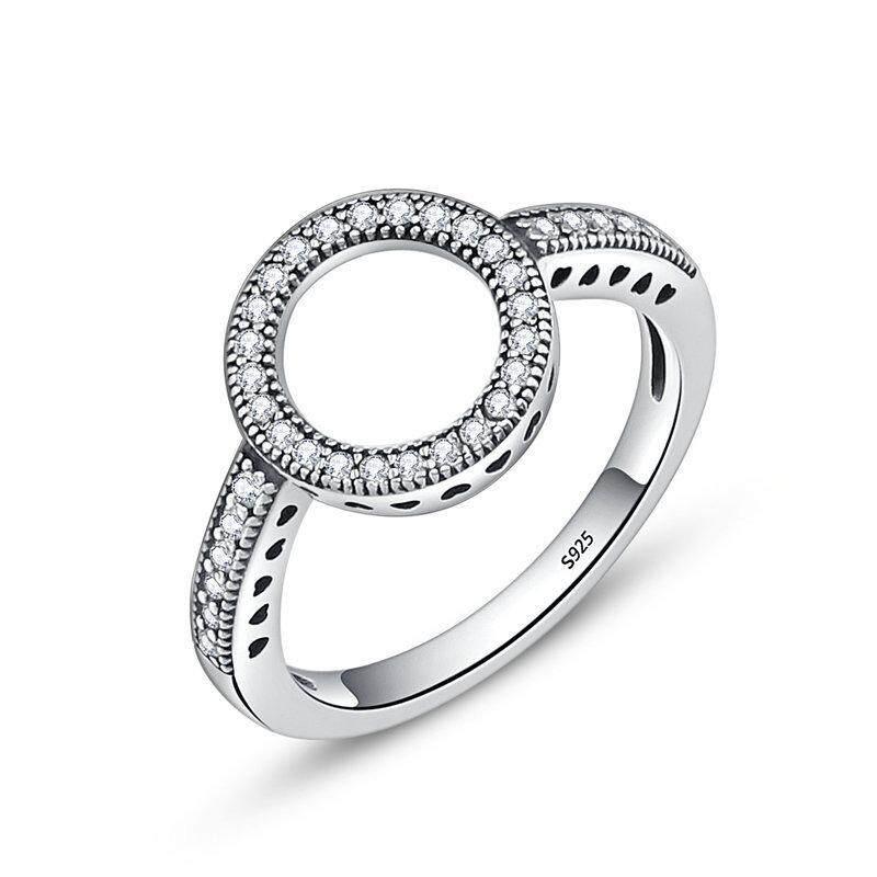 Bamoer 2018 Seksi Jual 100% Asli 925 Sterling Perak Selamanya Bening Hitam CZ Lingkaran Bulat Jari Cincin untuk Wanita Perhiasan SCR041-Internasional