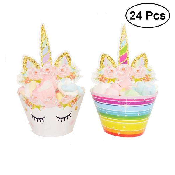 24 Pcs Cupcake Sets Unicorn Cupcake Toppers And Wrappers Set Unicorn Horn Eyelashes Rainbow Glitter Wrappers Cake Decorations For Kids Birthday Party Wedding Baby Shower Party By Eshopdeal.