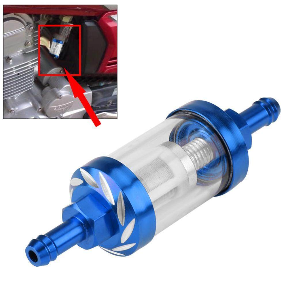 Features Chrome Inline Finish Petrol Diesel Fuel Filter 8mm 5 16 Install Metal Glass Gas Oil Thread Replacement For Motorcycle Blue