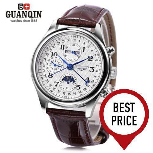 GUANQIN GQ20022 MALE AUTO MECHANICAL WATCH MOON PHASE CALENDAR 24 HOURS SYSTEM MEN WRISTWATCH (BROWN)