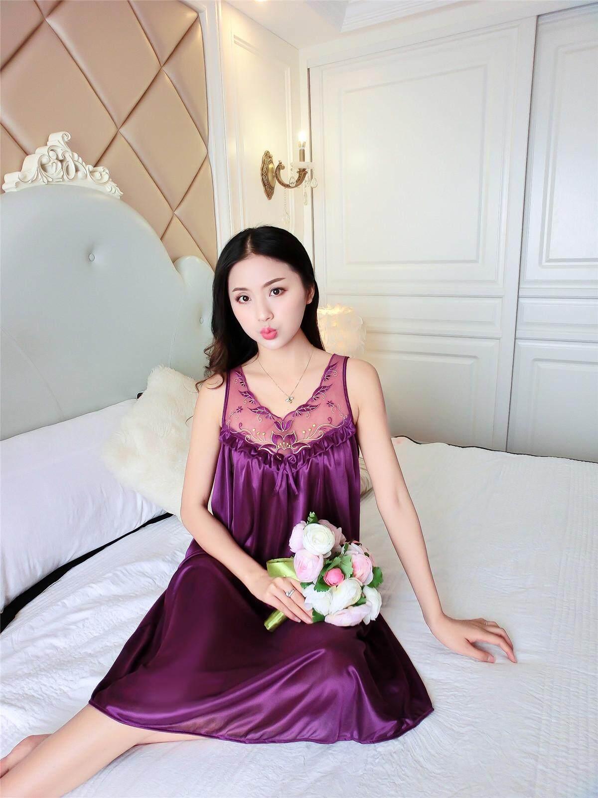 Bolster Store Ladies Women Sexy lingerie Sleepwear Short Sleeve Bow Ribbon Lace Pajamas Long Dress Silk Comfortable Night Wear Pyjamas