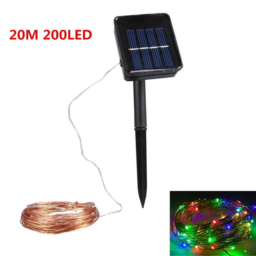 20M 200LED Outdoor Solar Powered Copper Wire String Light Night Lamp with Ground Pin Rod Yard Garden Decoration