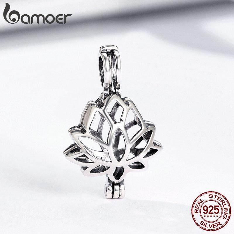 Bamoer Nyata 100% 925 Sterling Perak Menanam Liontin Elegan Bunga Teratai Kandang Liontin Sesuai Perhiasan ...