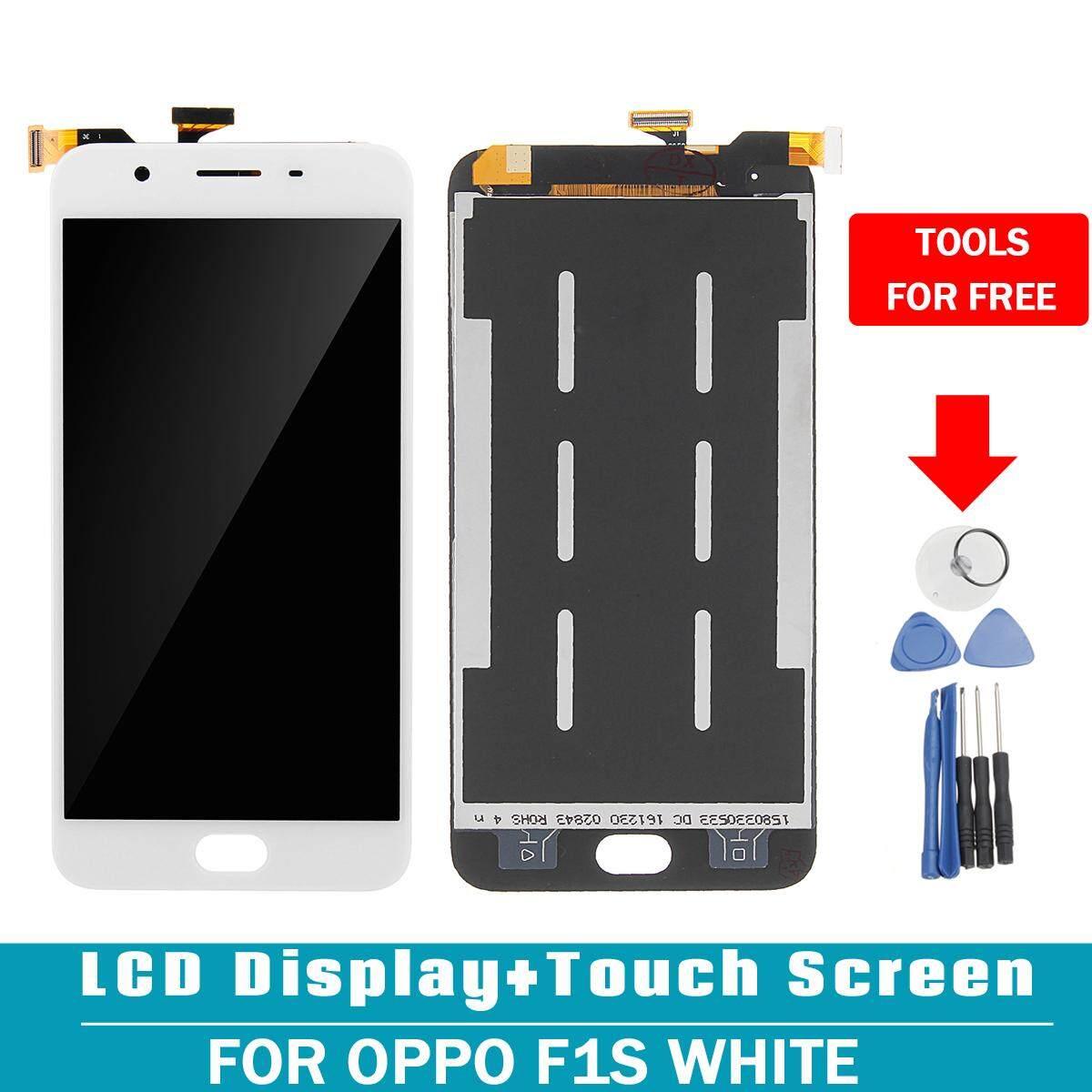 Layar LCD Digitizer Layar Sentuh Kaca Perakitan untuk Oppo F1s Putih-Intl