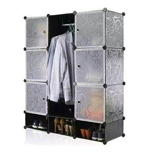 9 CUBE WARDROBE PLAIN WITH 3 SHOES RACK - BLACK