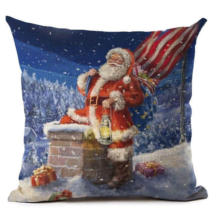 Bantal Natal Sarung Santa Klausa Pola Bantal Sofa Sofa Bantal Dekoratif Natal (Santa Membawa Lampu Minyak) -Internasional