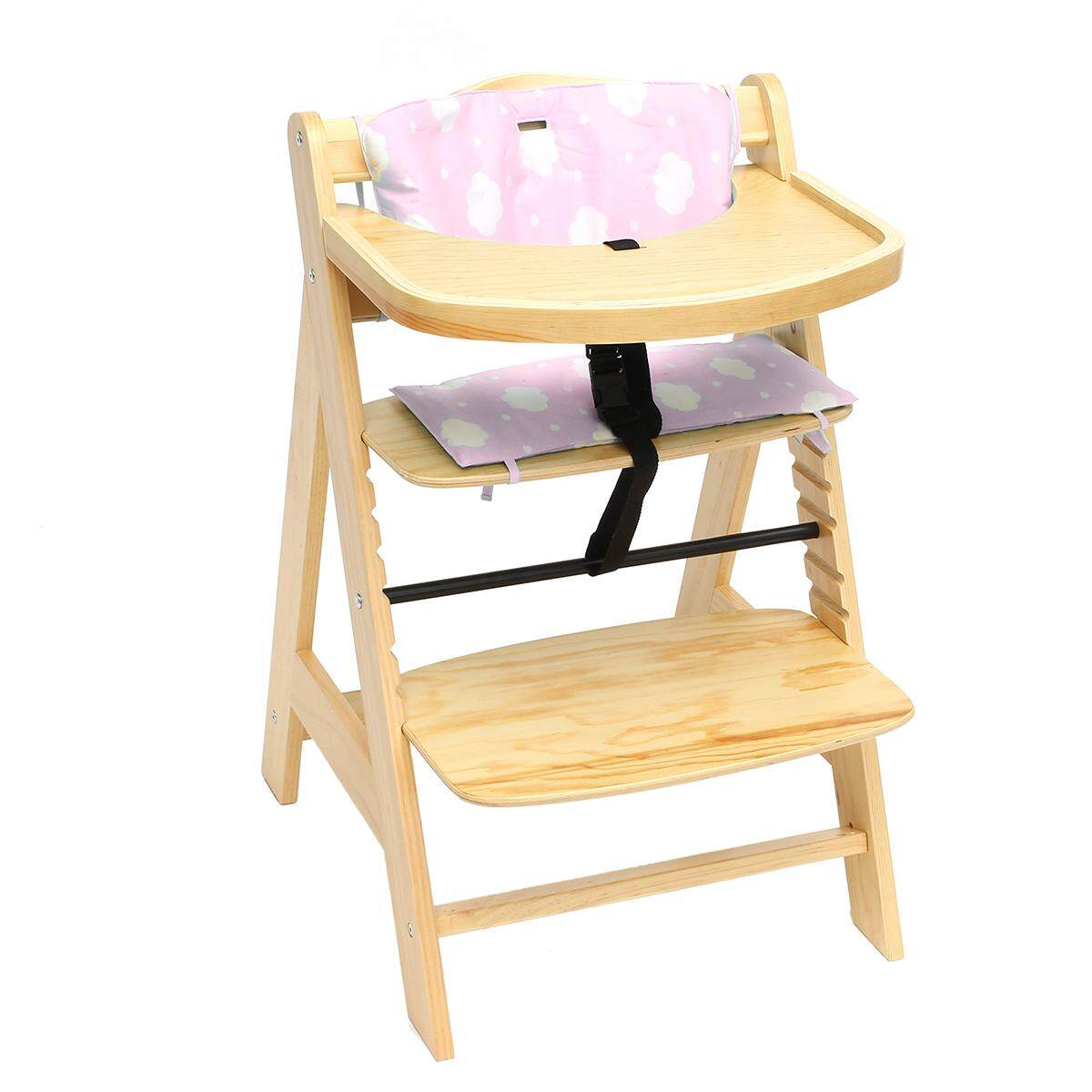 Baby High Chair 3 in 1 Wooden Highchair with Tray and Bar (BEECH) Pink - intl