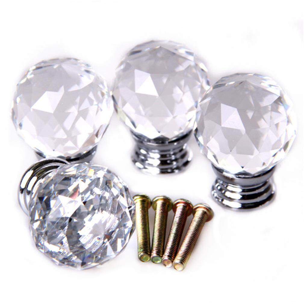 GOOD 4pcs/set Crystal Glass Acrylic Door Knobs Drawer Cabinet Furniture Handle packclear - intl