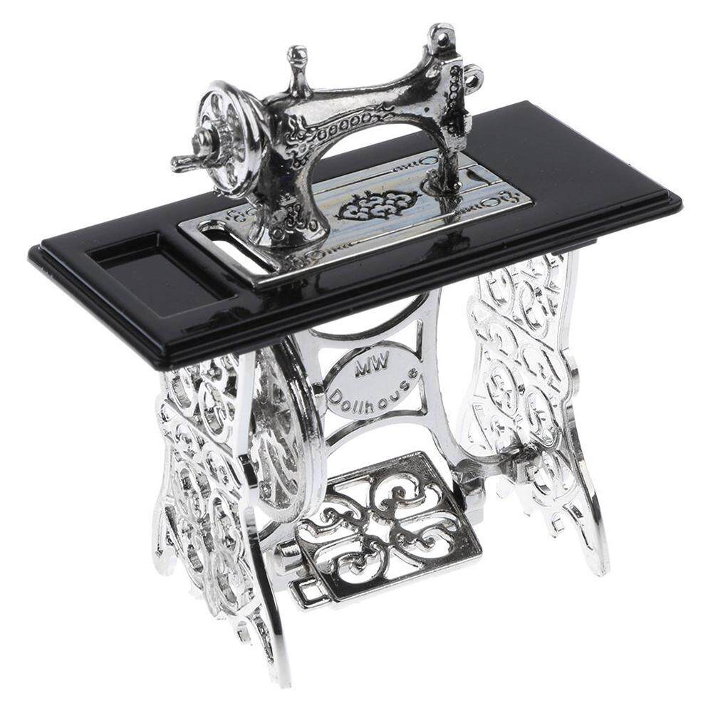 DSstyles Vintage Miniature Sewing Machine Furniture Toys Gifts for 1/12 Doll House Decor Retro Children Toys Accessories - intl