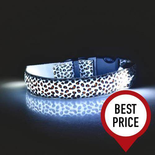 LEOPARD PRINT LED COLLAR LUMINOUS PUPPY NECKLACE PET DECORATIVE PROPS (WHITE)