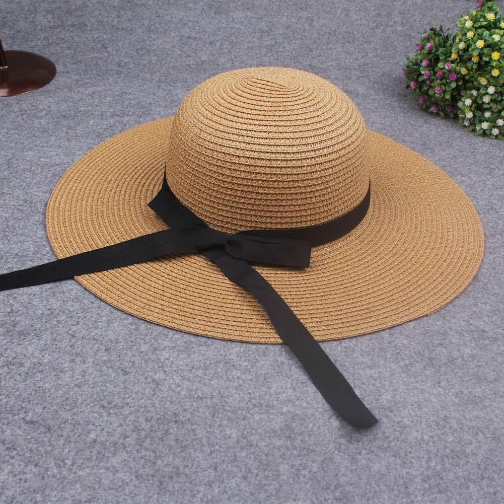 ... Baru Elegan Wanita Straw Matahari Topi Simpul Topi Bertepi Lebar Lipat Kasual Musim Panas Liburan Topi ...