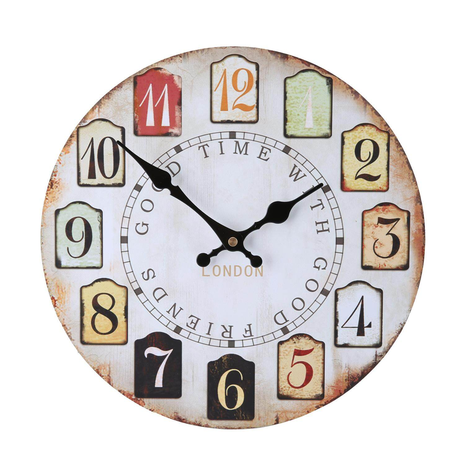 wedzwe Wood Vintage Wall Clocks for Decorative Living Room, Colorful Pattern 12 Inch