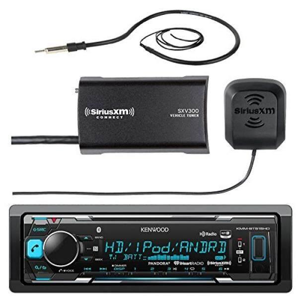 Kenwood Marine Boat Yacht Bluetooth USB AUX Audio Stereo Receiver Bundle Combo with SiriusXM SXV300v1 Satellite Radio Tuner Kit, Enrock 22
