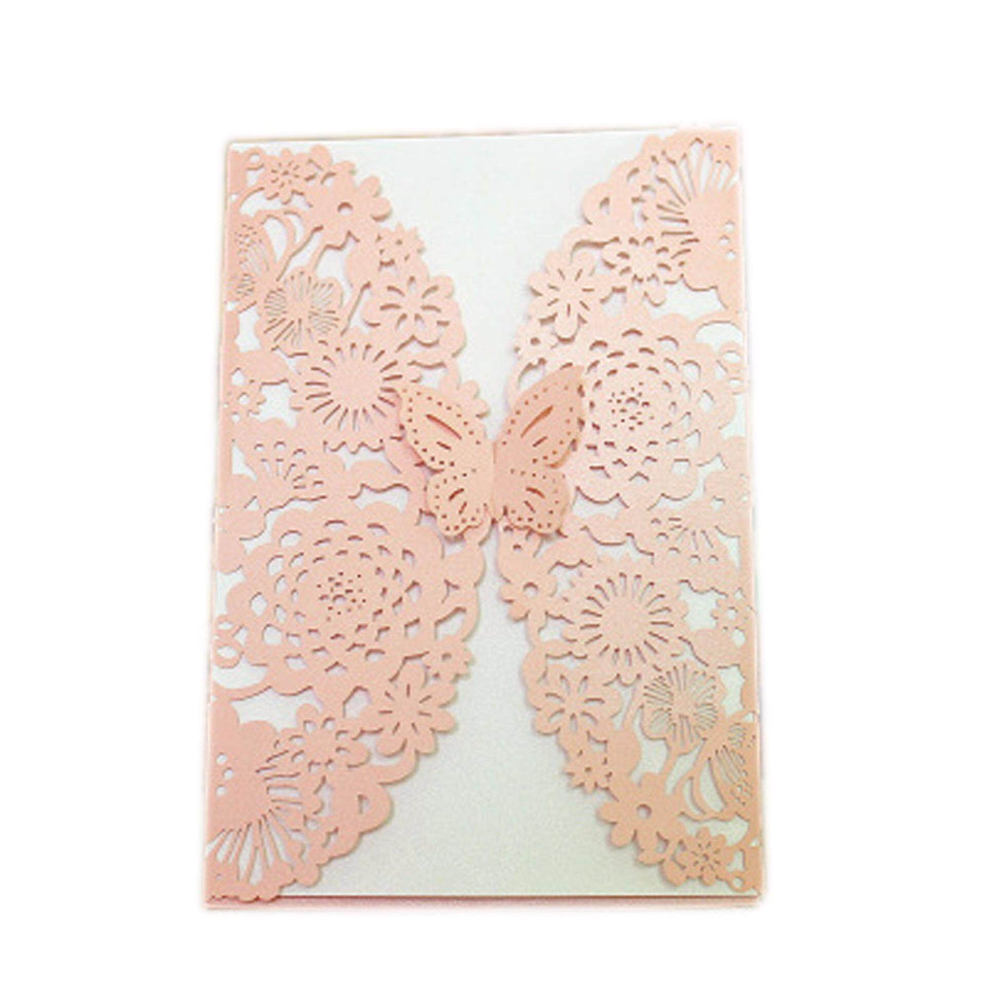 Hình ảnh Fancyqube 2Pcs Delicate Carved Butterflies Romantic Wedding Party Invitation Card H05 - intl
