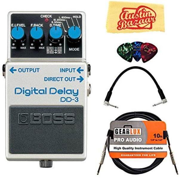 Boss DD-3 Digital Delay Bundle with Instrument Cable, Patch Cable, Picks, and Austin Bazaar Polishing Cloth - intl