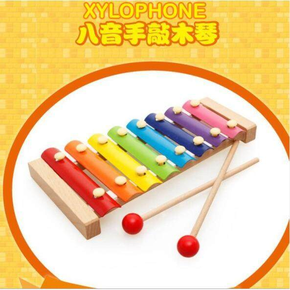 Baby Kids Wooden Multi-Color 8-Note Xylophone Musical Instrument Piano Toy