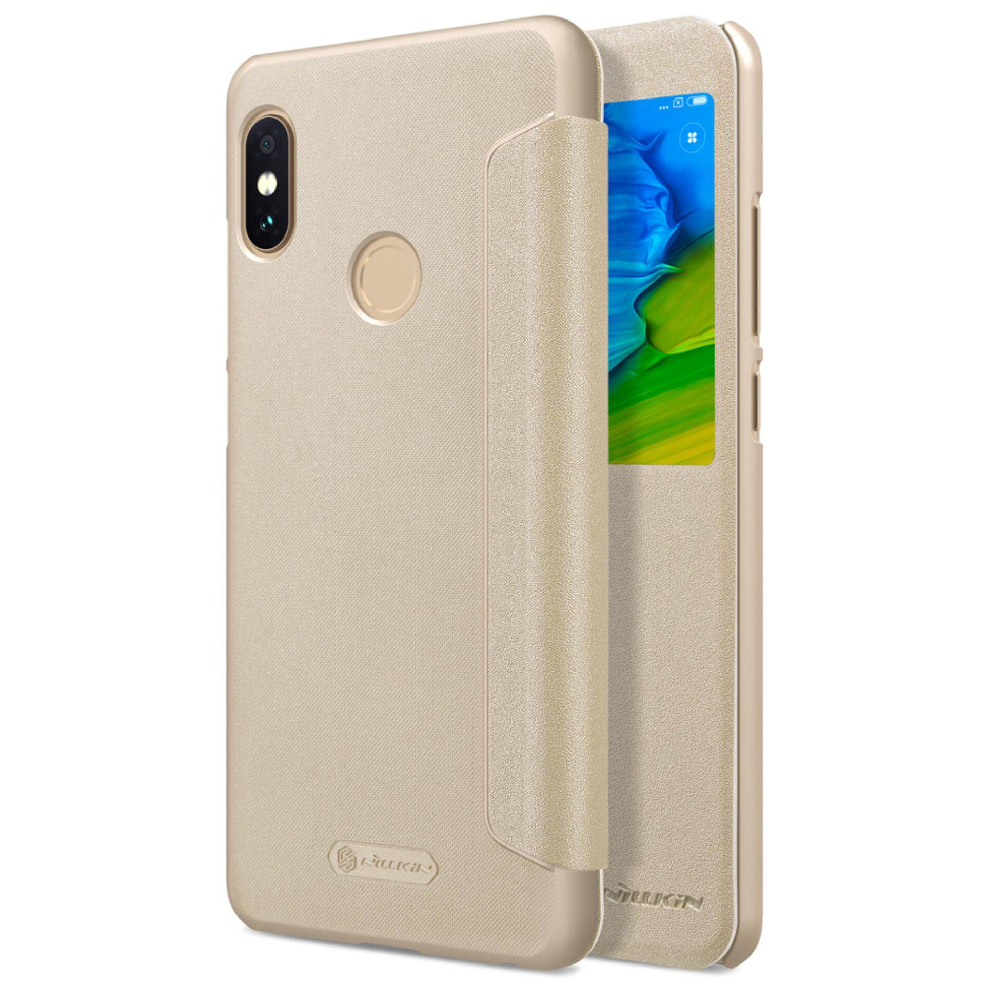 Best Rated Xiaomi Redmi Note 5 Pro Case Nillkin Sparkle Book Type Ultra Thin Smart View Window Wake Up Sleep Flip Up Pu Leather Case Protective Shell Slim Cover Phone Case Casing For Xiaomi Redmi Note 5 Pro Intl