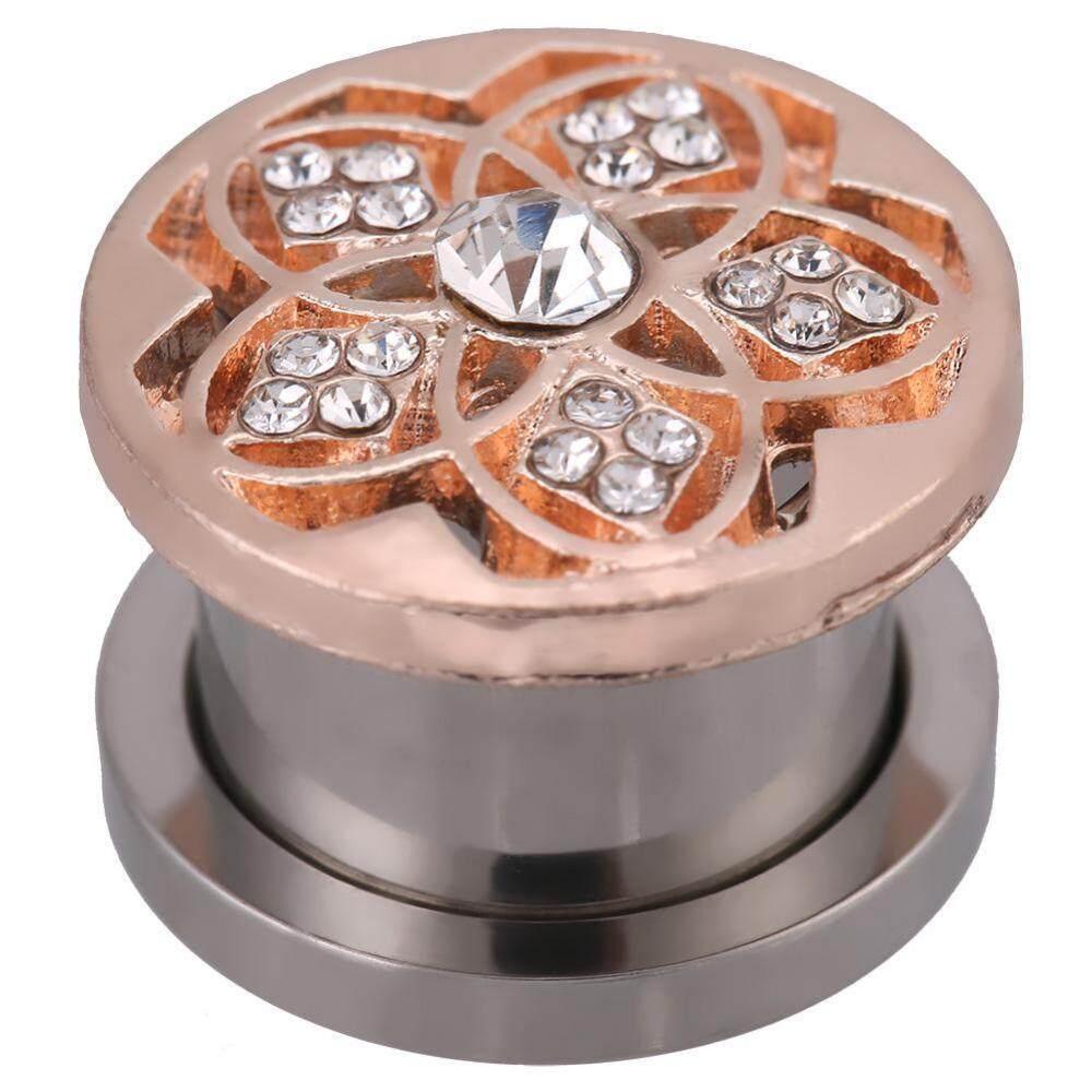 1 PC Anti Karat Berlian Buatan Bunga Berongga Terowongan Telinga Steker Piercing Gauge (14 Mm)-Internasional