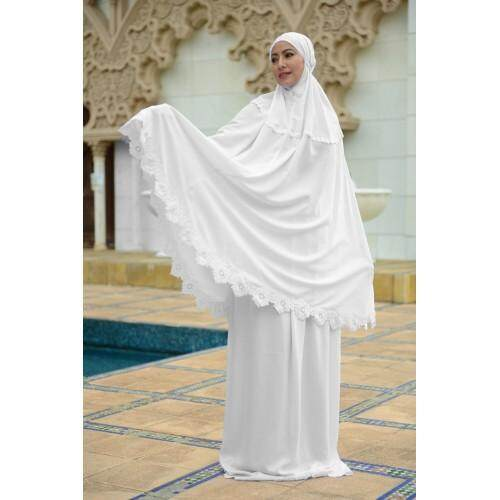 Telekung coton with simple plain white embroidery - Suci