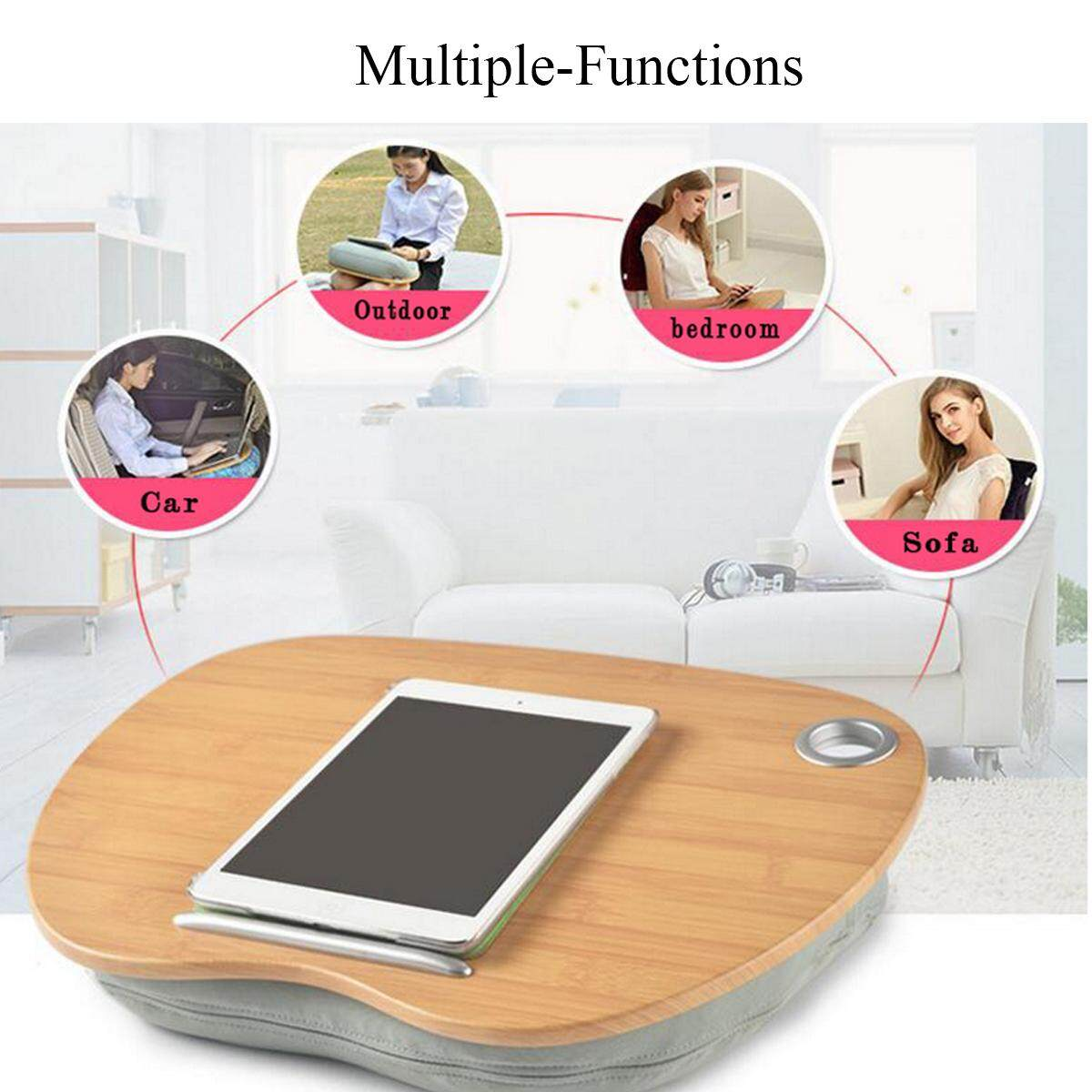 Multifunctional Lap Laptop Pillow Desk Tablet Notebook Table Stand Bed Sofa Tray Grey - 2
