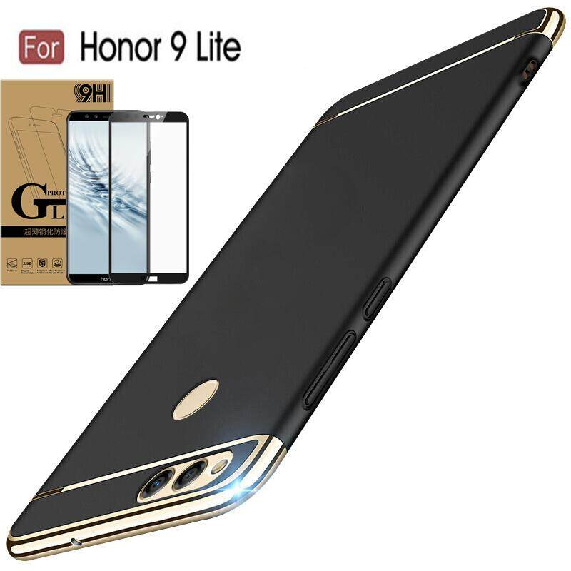3 In 1 Hard Shockproof Cover Case Case For Huawei Honor 9 Lite With Full Covered Screen Protector Tempered Glass Coupon