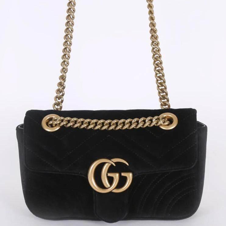 Gucci Gg Marmont Mini Velvet Ladys Shoulder Bag Black