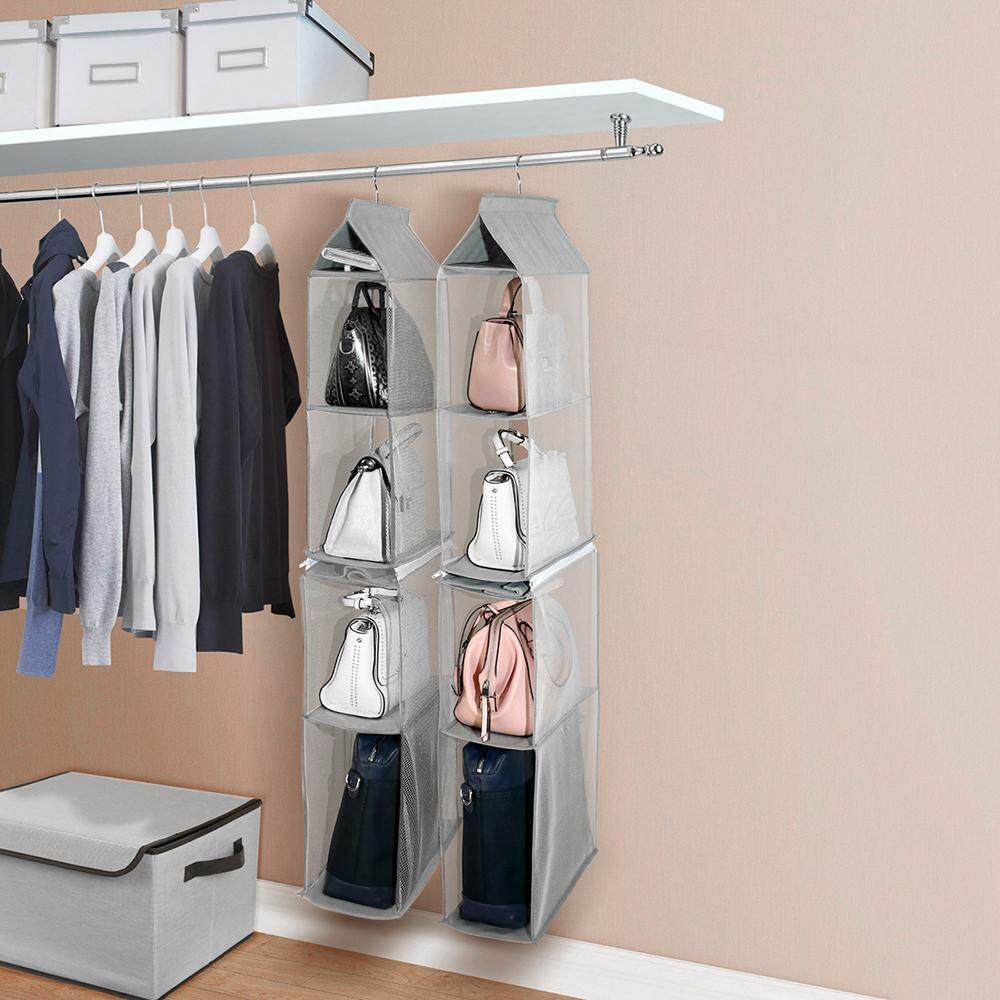 4-Tiers Non-woven Detachable Closet Bags Organizer Handbags Hanging Shelf Collapsible Clothing Accessories Storage Holder--Grey - intl