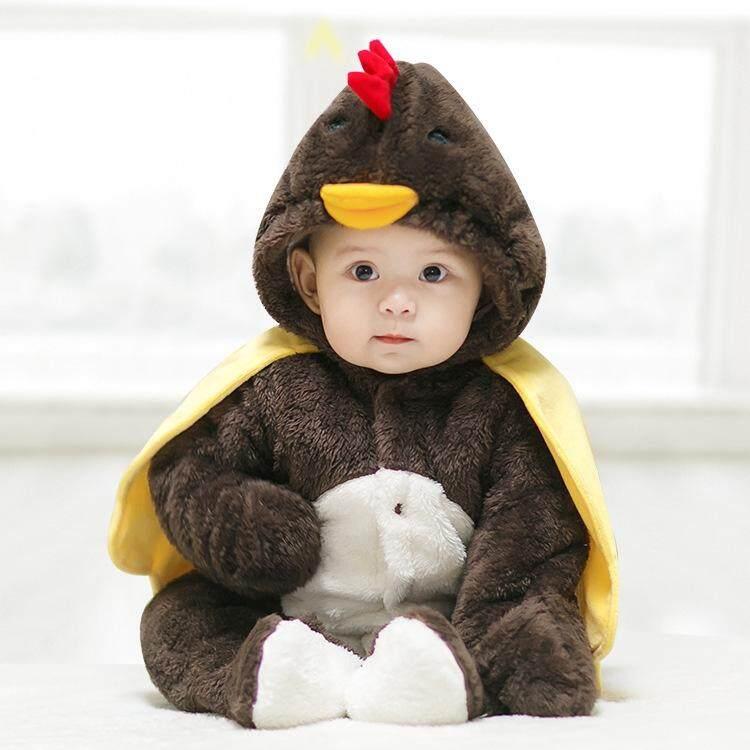 Bayi Lucu Modis Sedikit Ayam Pemodelan Menebal Layette Jumpsuit Romper, Ukuran: 66 Cm (Coklat)-Internasional