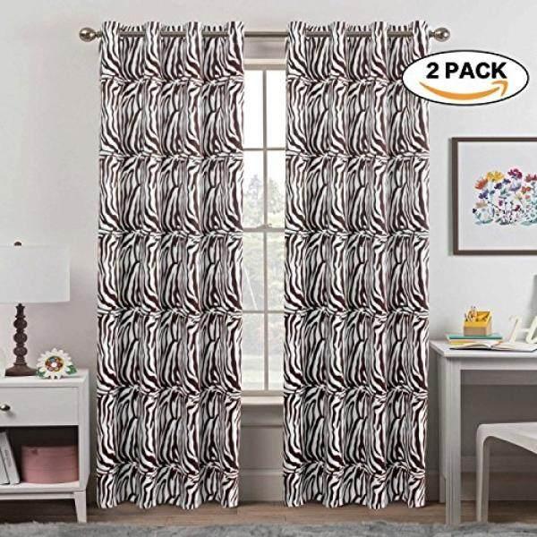 Zebra Tirai Pasang Jendela Treatment Panas Insulated Grommet Room Darkening Gorden Tirai untuk Kamar Tidur-Internasional