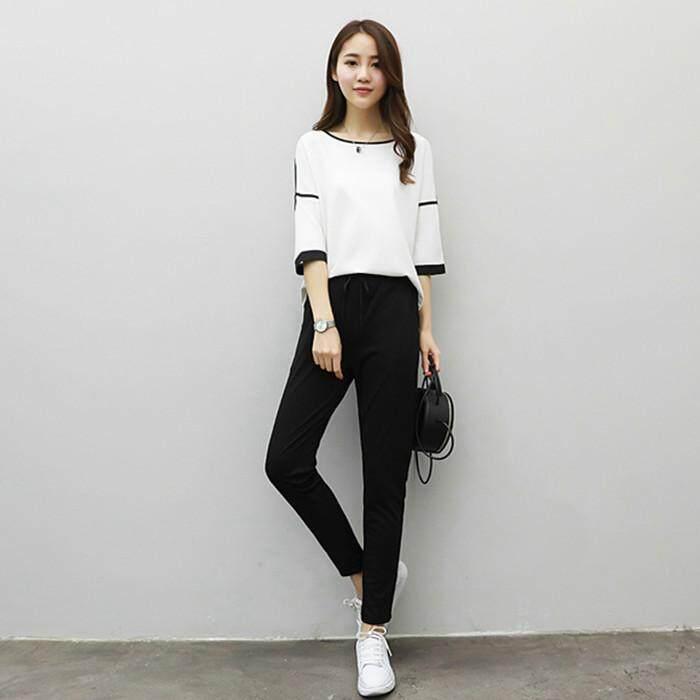 (Pre Order 14 days) JYS Fashion Korean Style Women Sport Wear Set Collection 540 - 8591 white top black pant
