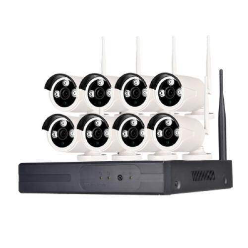 8 Channel 960P Wireless Security 1 x Wifi NVR 8 x 1.3MP Wifi IP Camera with Night Vision (WHITE AND BLACK)