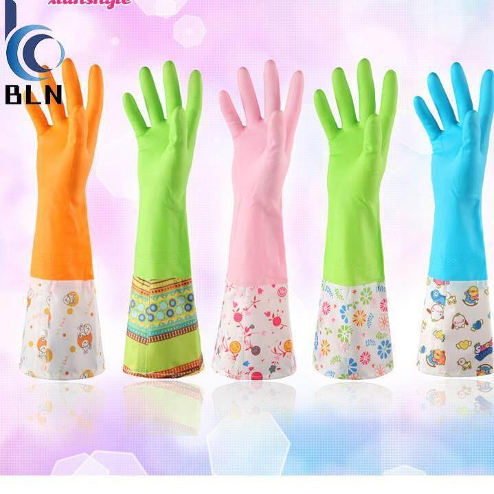 Sarung Tangan Dapur Penebal Sarung Tangan Panjang Tipis Tipis Sarung Tangan Karet Tahan Air Sarung Tangan Beludru-Internasional