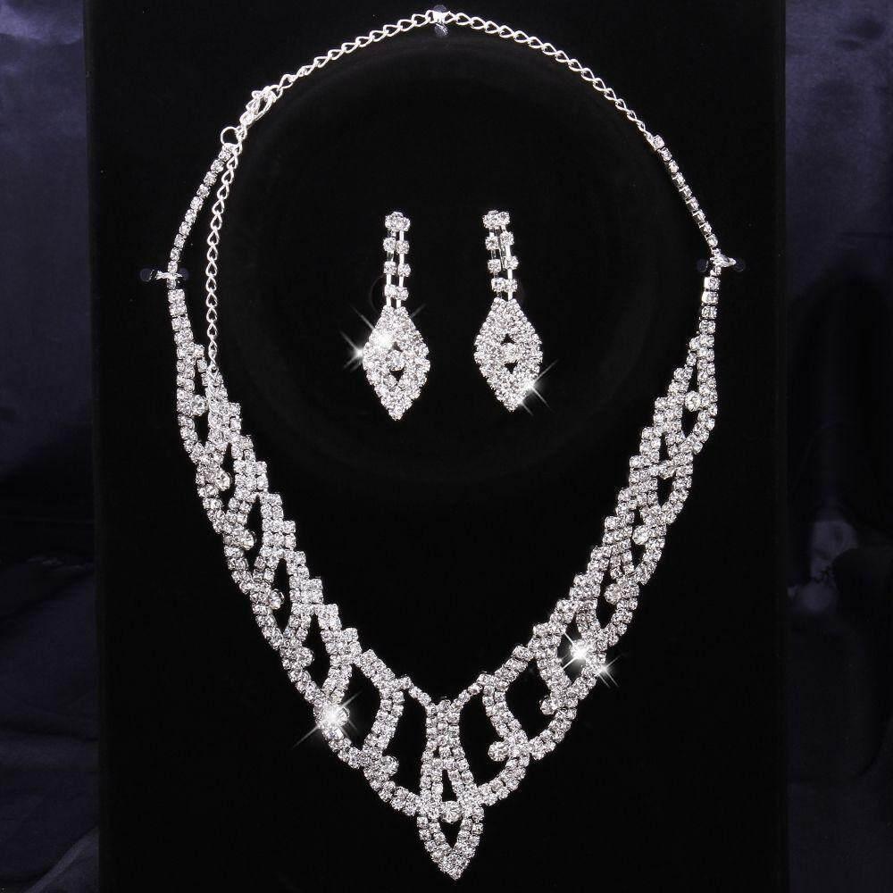 S010free shipping rhinestone crystal jewelry set fashion crystal earrings+neckalce set wedding jewelry sets (White)