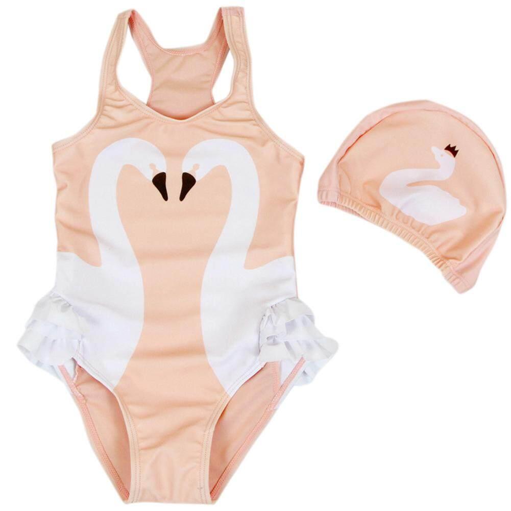 Saideng 2 ชิ้น/เซ็ตเด็กสาวรูปแบบสัตว์การ์ตูนชุดว่ายน้ำ Swan นกแก้วนกกระเรียนหนึ่งชิ้นชุดว่ายน้ำ + หมวก.
