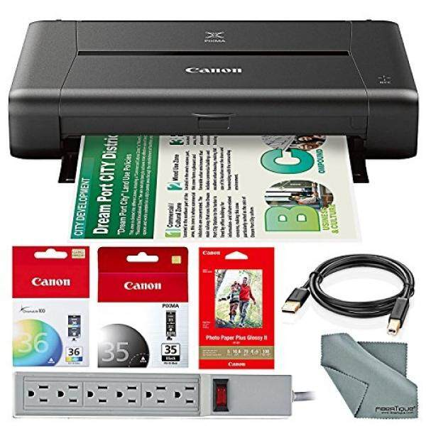 CANON PIXMA iP110 Wireless Mobile InkJet Printer w/ With Airprint(TM) And Cloud Compatible and 100 Sheet Photo Paper Accessory Bundle with 6-Outlet Strip + USB Cable + Fibertique Cloth