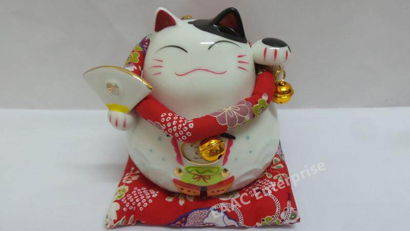 """Ceramic Quality 6"""" Lucky Fortune Cat Saving Box Bank + Red Cushion ????? 2"""